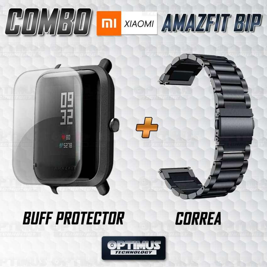 Buff Screen protector Y Correa De Metal Acero Inoxidable Smartwatch Reloj Inteligente Xiaomi Amazfit Bip