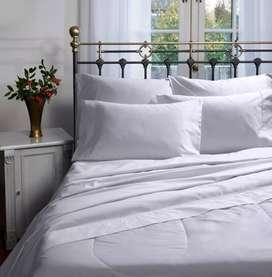Juego de sábanas cama doble, planchado permanente