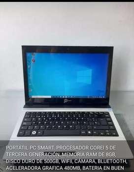 PORTÁTIL PC SMART. PROCESADOR COREI 5 DE TERCERA GENERACIÓN, MEMORIA RAM DE 8GB, DISCO DURO DE 500GB, WIFII, CÁMARA,