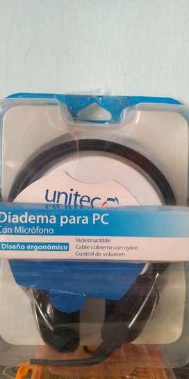 Diadema con Microfono tipo Gamer UNITEC