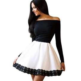 Vestido Otoño Manga Larga Sin Tirantes Slash Cuello blanco y negro