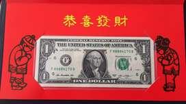 Billetes 1 Dolar Americano Coleccion Serie 8888XXXX