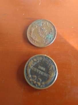 Moneda antigua del Perú Dos centavos de 1919 y 1948 en buen estado