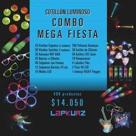 Combo Cotillón Mega-Fiesta Led 499 artículos p/250 inv.