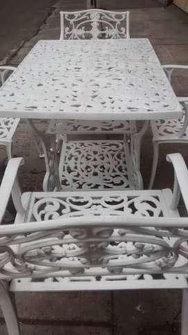 Mesa para exterior en fundicion de aluminio