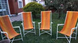 Juego de jardín, 4 sillones de Hierro con lona extraible