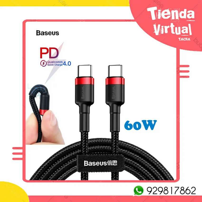 Cable usb PD tipo c a tipo c 0