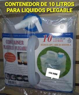 CONTENEDOR PLEGLABLE PARA LIQUIDOS 10 LITROS
