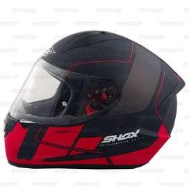 Casco Shox Stinger Gal Negro/Rojo Mate para Motociclistas